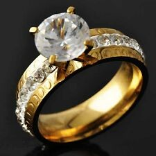 Sparkling Womens Yellow Gold Filled Clear CZ Promise Love Band Ring Size 6-9