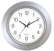 """Timekeeper Large 13"""" Round Modern Glass Face Wall Clock with Silver Chrome Frame"""