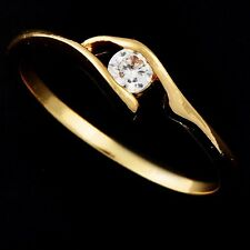 Promise Wedding Womens Engagement Crystal Yellow Gold Filled Ring Size 5-8