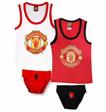 NEW Official Manchester United FC Boys 2 Piece Vest & Pants Underwear Set 6-12yr