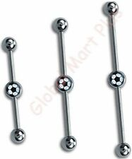1 Industrial Scaffold Barbell Earring Double Belly Button Ring Soccer Ball 14g
