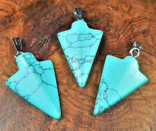 Arrowhead Necklace - Turquoise Howlite Carved Gemstone Pendant (V12) Jewelry