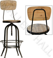 Industrial Steel & Pine Wood Bar Stool With Back Choose Qty