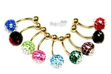 Body Piercing Belly Bar Gold Plated CZ Gem Two Tone Belly Rings Navel Valentines