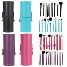 12pcs Pro Cosmetic Makeup Brush Set Make up Tool + Leather Cup Holder Kits DA