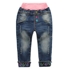 Girls Toddlers 100%Cotton Trousers Heart Image Denim Pants Jeans 0-4T  P1132