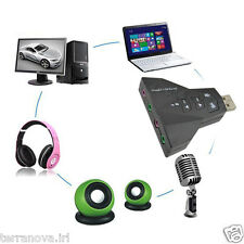 USB ADAPTER SOUND CARD VIRTUAL 7.1 CHANNEL PC MAC 3D AUDIO HEADSET MIC 3.5mm