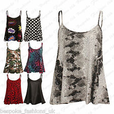 Ladies Women's Cami Sleeveless Wetlook,Camouflage,Leopard Flare Swing Top 8-22