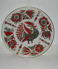 Decorative Russian Red Green Bird Plate-Panel Imperial Porcelain Lomonosov