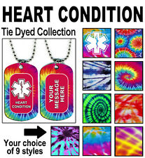 HEART CONDITION MEDICAL ALERT NECKLACE Hippie Tie Dye Dyed PERSONALIZE Dog Tag