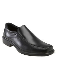 Ecco HELSINKI Mens Black Leather Slip On Bicycle Toe Casual Comfort Dress Shoes