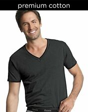 6 Hanes Classics Men's Traditional Fit ComfortSoft® TAGLESS® Dyed Black V-Necks