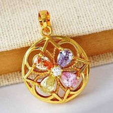 Womens Multi-color CZ/Sapphire Four Leaf Flower Yellow Gold Plated Pendant