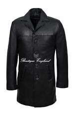 New 3476 Men 4 Buttons CLASSIC BLAZER Black Knee Length Lambskin Leather Jacket