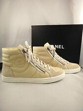 NIB Chanel 15C Beige Canvas Quilted High Top Lace Up Trainer Sneaker 35 $1025