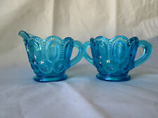 Vintage L.E. Smith Teal Moon & Stars Sugar and Creamer Pressed Glass