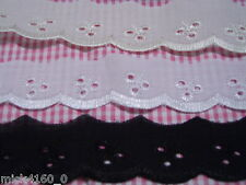 Broderie Anglais Lace 30mm wide  - Available in 3 colours