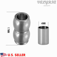 Wholesale Stainless Steel Polished Magnetic Clasp Barrel Glue in Cord End 17x8mm