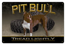 "Pit Bull Tread Lightly Dog Metal Sign Wood Frame Wall Decor, Wall Art 18"" x 12"""