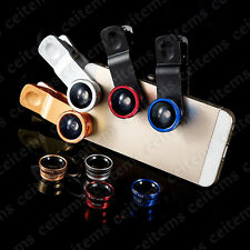 3in1 Universal Clip Lens Kit Fisheye Wide Angle Macro Lens for Samsung Huawei LG