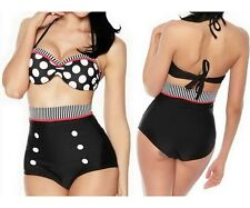 women's cutest retro swimsuit swimwear vintage pin up high waist bikini set