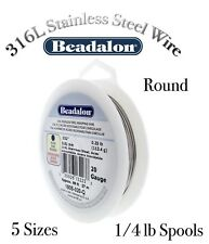 STAINLESS STEEL 316L Wire (18 - 26 Gauges) ROUND Wire Beadalon - 1/4lb Spools