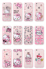 Cute Hello Kitty TPU Clear Acrylic Ring Shell Case Cover for iPhone 6 6s Plus