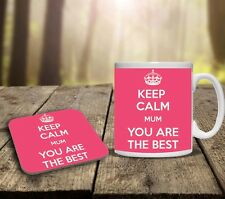 MOTHERS DAY KEEP CALM MUM YOU ARE THE BEST PERSONALISED MUG & COASTER GIFT SET