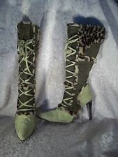 Suede green lace up boots sz 9 Michael Antonio cheetah print knee high 4'' heels