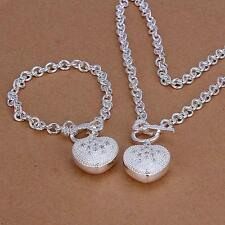 Women 925 Sterling Silver Plated Heart chain key Bracelet Necklace Jewelry Set