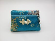 """SILK EMBROIDERED COIN PURSE 5"""" Small Change Wallet Pouch Bag Zipper Case Purse"""