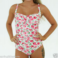GEORGIA Vintage Pink & Cream Floral Ruched One Piece Ladies Swimsuit Size 12 14