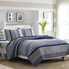 Blue/Gray Plaid Pieced Cotton Quilt Collection Coverlet Sham Bedding Tailored