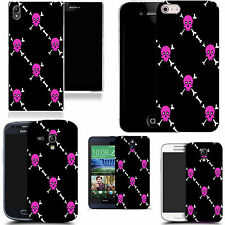 case cover for majority Popular Mobile phones -pink skull pictoral silicone