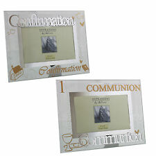 """Glass 6"""" x 4"""" Photo Frame Glass & Glitter Letters - Communion OR Confirmation"""