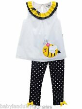 Rare Editions White Yellow Black Bee Top & Leggings Summer Holiday Beach Party