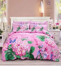 Garden Pink Bedding Set Pillowcase Quilt Duvet Cover Single Queen Size 3PC #K