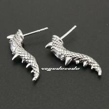 White CZ Stone 316L Stainless Steel Claw Tail Mens Biker Stud Earring 3Q008D