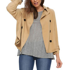 Women Double Breasted Button-Tab Epaulets Trench Jacket