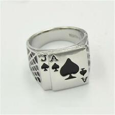 New Fashion Stainless steel Silver Mens Ace of Spades Casino Poker Card Ring IK
