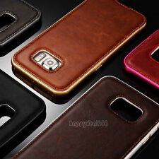 Luxury Leather Back Case Aluminum Metal Bumper Cover For Samsung Galaxy iPhone 6