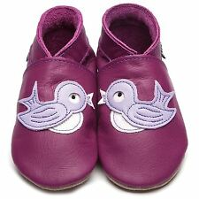 Inch Blue Girls Luxury Leather Soft Sole Baby Shoes - Bluebird Grape