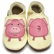 Inch Blue Girls Boys Luxury Leather Soft Sole Baby Shoes - Pig Buttermilk