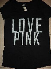 "VICTORIAS SECRET PINK APPLIQUE ""LOVE PINK"" SCOOPNECK CREW TEE NWT"