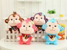 Baby Monkey doll /bibs Plush toy Girl Boy Birthday Gift happy Monkey Stuffed toy