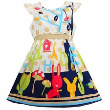 Girls Dress Flower Cartoon Print Cotton Party Birthday Kids Clothes Size 2-6 NWT