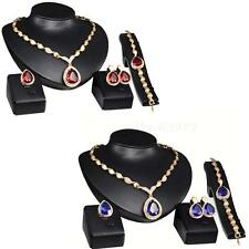 Hot Jewelry Gold Plated Ruby Sapphire Pendant Austrian Crystal Necklace Set MIKE