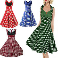 Roiii Womens Polka Dot 1950s Vintage Retro Pin Up Rockabilly Swing Party Dresses