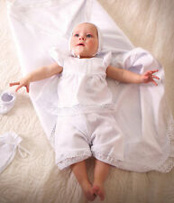 Newborn Baby Girl Christening Dress White Baptism Outfit Suit Set Cotton Lace