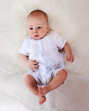 Handmade Bodysuit Baptism White Baby Boy Outfit Christening Cotton Lace Clothes